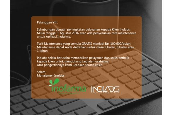 Penyesuaian Tarif Maintenance Software Apotek Inofarma